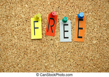 Free - Word Free placed from colourful small letters on the...