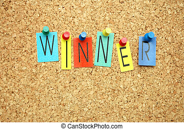 """Winner - Word """"Winner """" placed from colourful small letters..."""