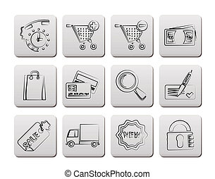 Internet icons for online shop - vector icon set