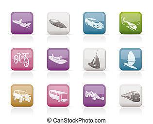 different kind of transportation and travel icons - vector...