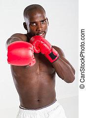africano, norteamericano, hombre, boxeo