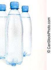 びん, 鉱物, 隔離された, プラスチック, 水, 背景, 白