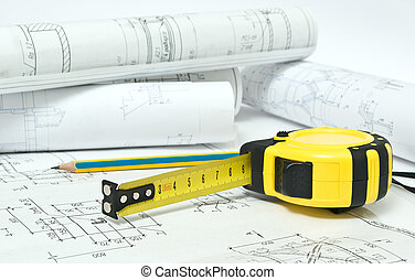 tape -measure on the drawing