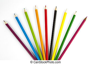 front view of color pencils