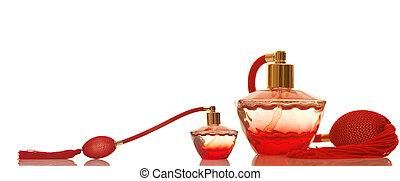 perfume, rojo, vidrio, botellas