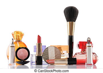 perfume and make-up, beauty concept - perfume and cosmetics...
