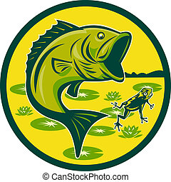 largemouth bass jumping with frog - illustration of a...
