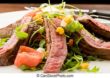 Meat with Rocket salad - delicious slices of meat with...