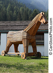 Trojan horse replica in Italy Wooden military machine Symbol...