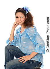 woman in jeans - beautiful woman posing in comfortable jeans...