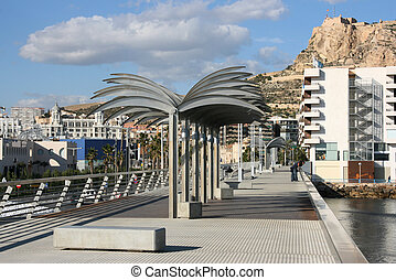 Alicante, Spain - Pier with steel palm trees and Saint...