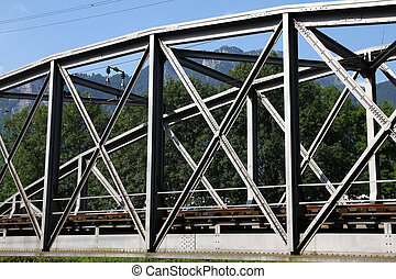 Truss bridge - Switzerland - truss bridge steel elements....