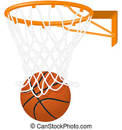 Basketball hoop and ball isolated on the white