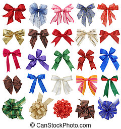 Bows collection isolated on white background