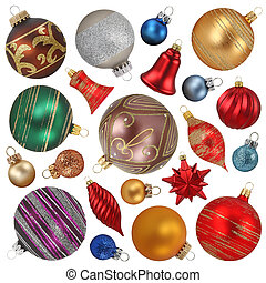 christmas ornaments collection isolated on white background