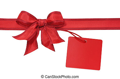 Red bow with label isolated on white background