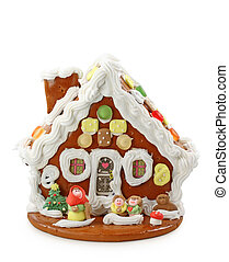 gingerbread house isolated on white background with clipping...