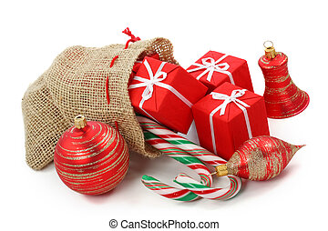 Sack with christmas presents isolated on white background