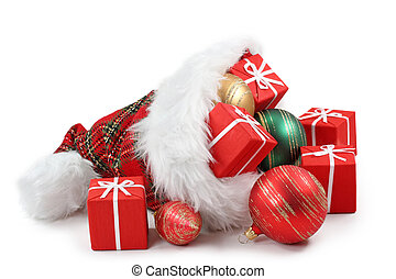 Santa Claus hat with Christmas presents and balls isolated...
