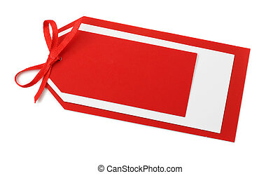 Blank red tag with bow