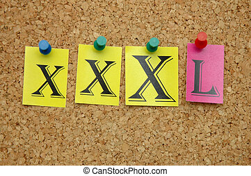 XXXL size - XXXL pinned on noticeboard