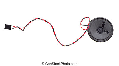 Loudspeaker with a wire isolated on a white background