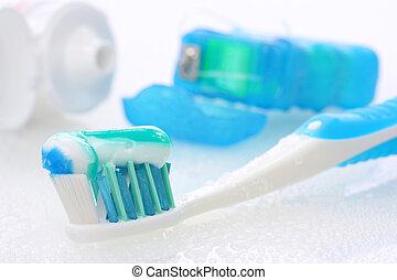 Dental equipment on white background