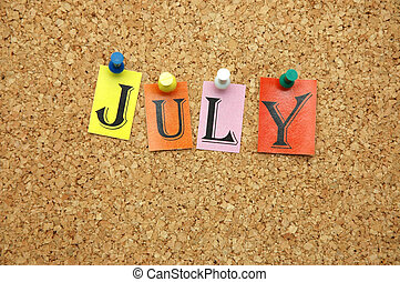 July , month pinned on noticeboard