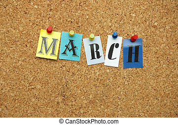 March, month pinned on noticeboard