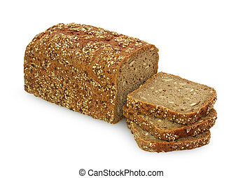 wholemeal bread on white background