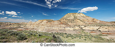 Badlands in Montana - Panorama of badlands in northern...
