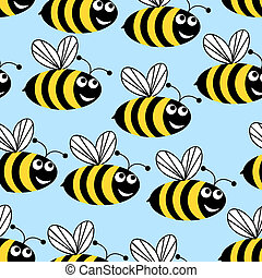 Amusing bees. - Seamless background in the form of flying...