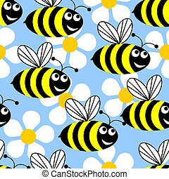 Bees and flowers. - Seamless background in the form of...