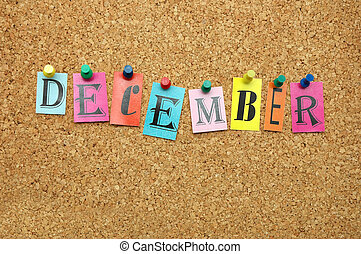 December, month pinned on noticeboard