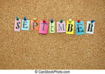 September, month pinned on noticeboard