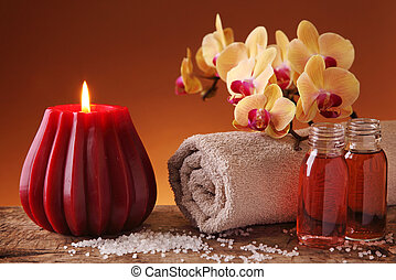 Spa still life with candle and orchid