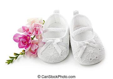bébé, girl, chaussures, rose, fleurs