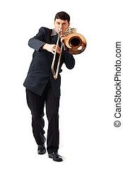 The Trombonist - Young man playing his trombone.