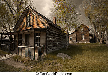 Ghost city - Old buildings in historic town Nevada City,...