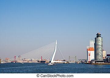 Rotterdam Erasmus bridge - View on the Erasmus bridge in...