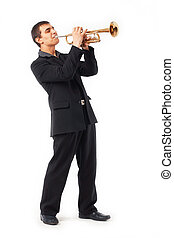 Trumpet Player - Portrait of a young man playing his Trumpet