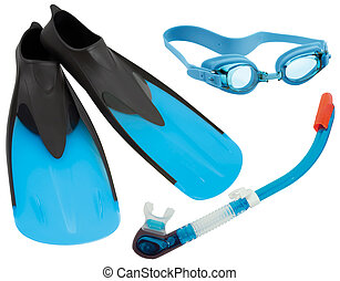 Swimming gear cutout - Flippers, glasses and snorkel...