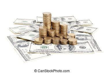 dolars and coins - one hundred dolar and pile of coins
