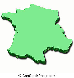 green map of France in 3d