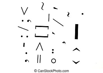 Punctuation marks on white background