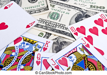 royal flush in poker and american dolars