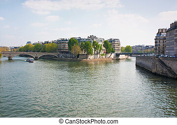 Seine and Ile Saint-Louis - View of Saint-Louis Island in...