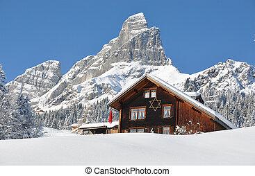 alpino, paisagem, Braunwald, Suíça