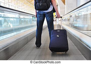 voyageur, valise, speedwalk