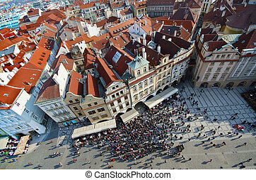 Prague, The old town square - The old Town Square view from...